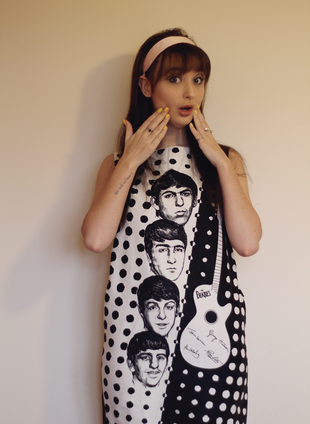 Beatles 1964 black and white dress