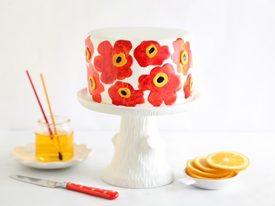 Orange Poppy Seed Marimekko Cake Sprinkle Bakes