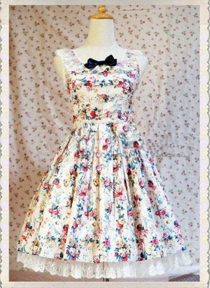 Lace Flower Printed Rococo Lolita Dress