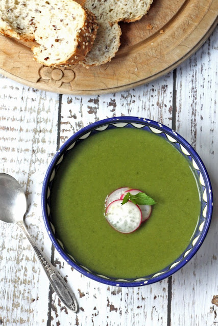 Pea and Kale Soup with Mint