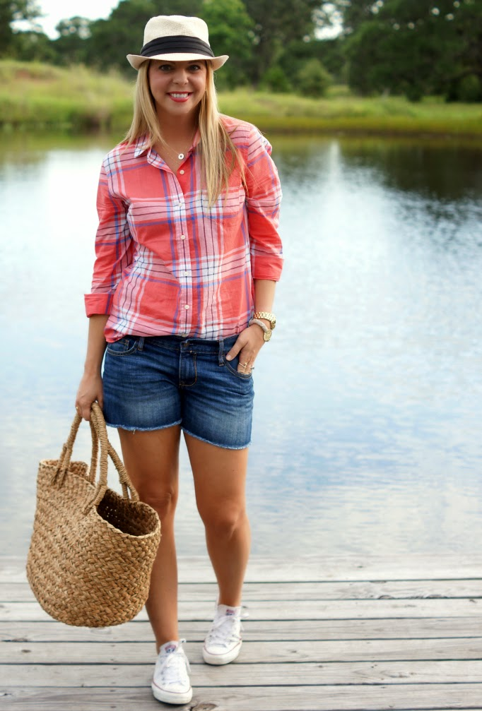 Denim Cut Off Shorts Plaid Old Navy Top