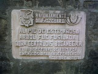 Placa conmemorativa para Gertrudis Bocanegra