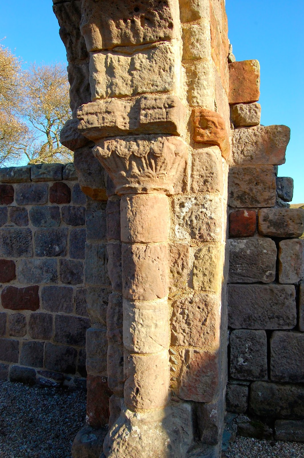 Decorative pillar in St. Blane's Church, Isle of Bute