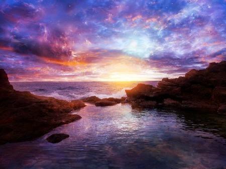hình nền hoàng hôn trên biển đẹp
