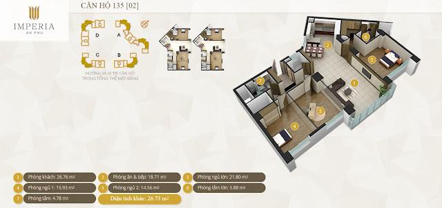 Mặt bằng căn hộ Imperia An Phú 135 m2 3 phòng ngủ