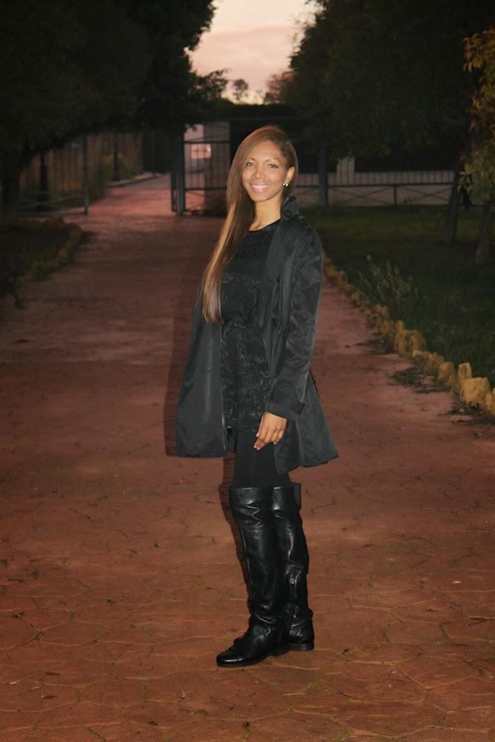 Mono de topshop, abrigo de  Los Angeles, botas de Geox.