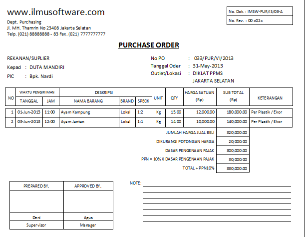 Ilmu Software: Contoh Purchase Order