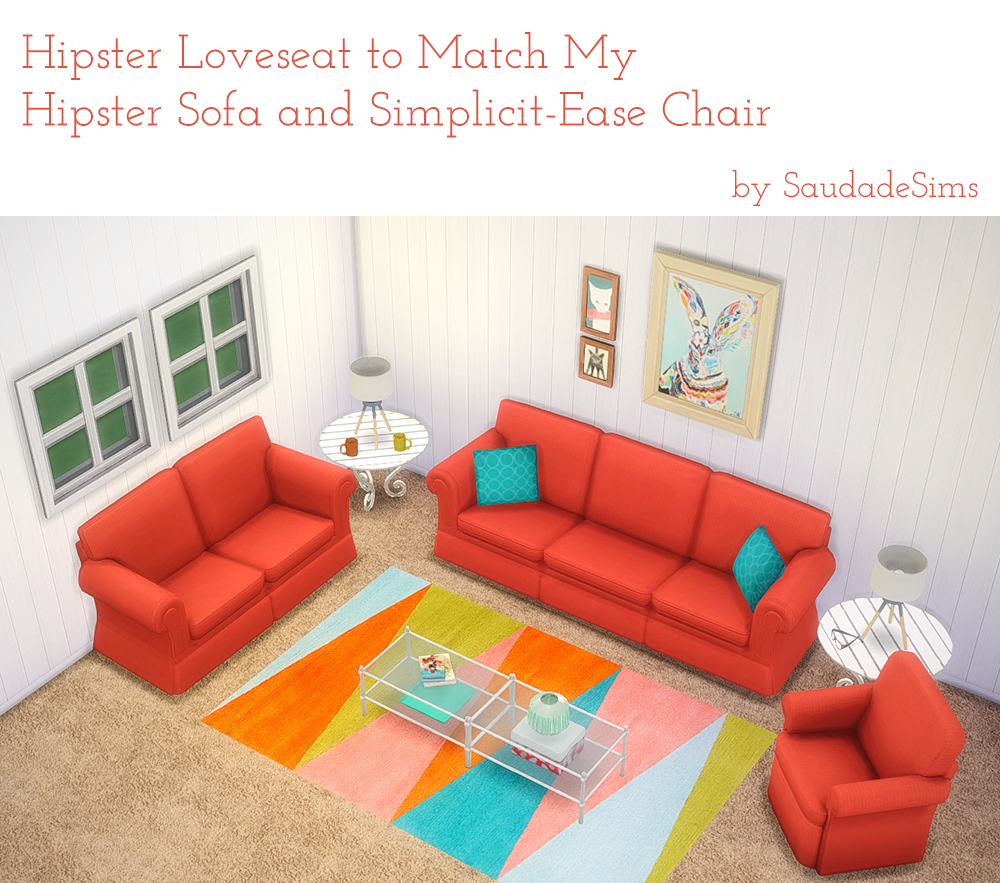 My sims 4 blog hipster loveseat to match my hipster sofa for Sofa bed sims 4
