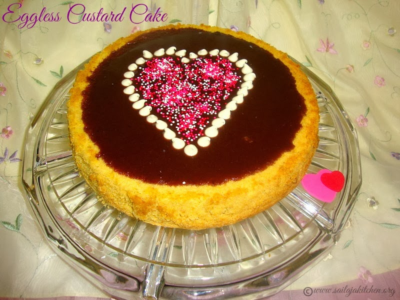 Eggless Custard Cake with Chocolate GlazeEggless Custard Cake Recipe/- Valentine's Day Special Recipes