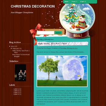Christmas Decoration blogger template. blogger template from wordpress theme