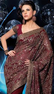 maroon colour saree for women