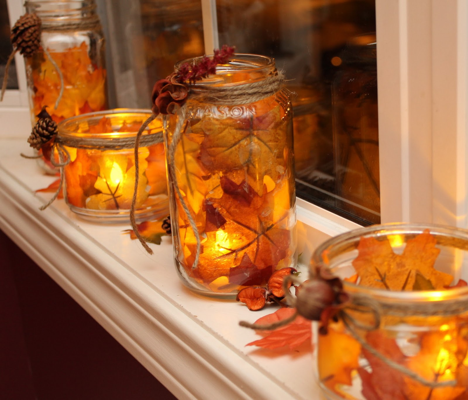 Turtles And Tails Fall Decor Mason Jar Foliage Candles