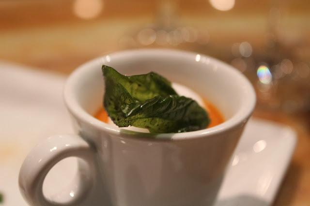 Cream of heirloom tomato soup at BOKX 109, Newton, Mass.
