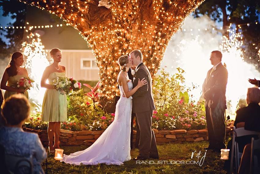 Wedding First Kiss, Christmas Lights, Fireworks, Oak Tree Manor, Spring Texas Photography