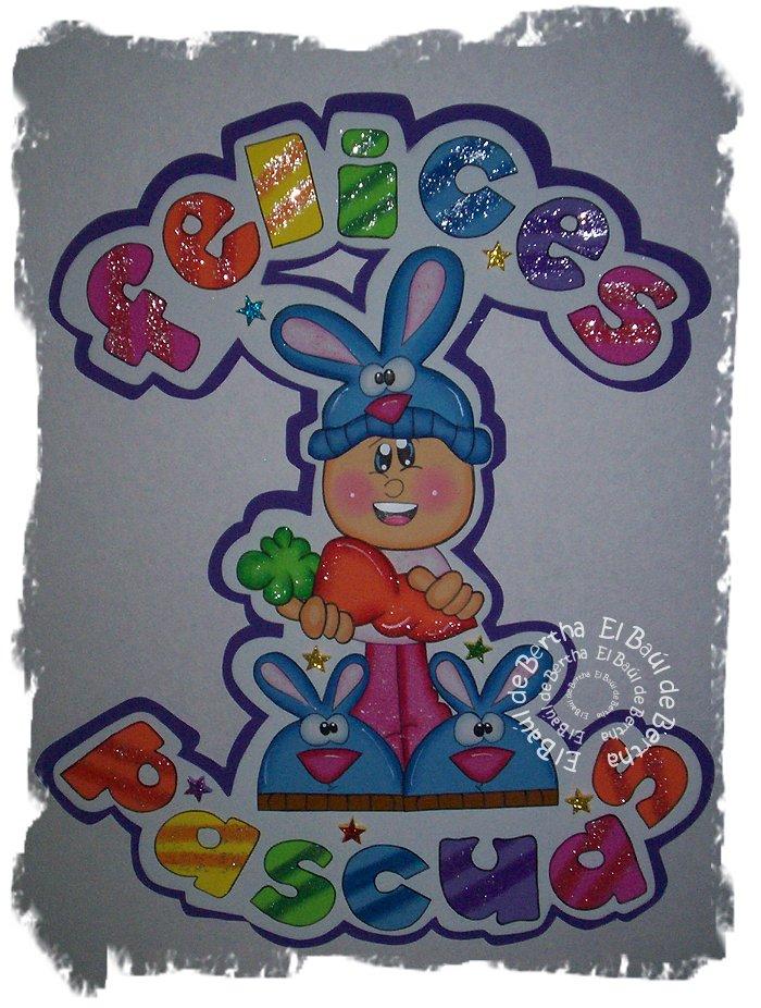 Letrero para Decorar en la #Pascua Fofucho%2BFelicesPascuas