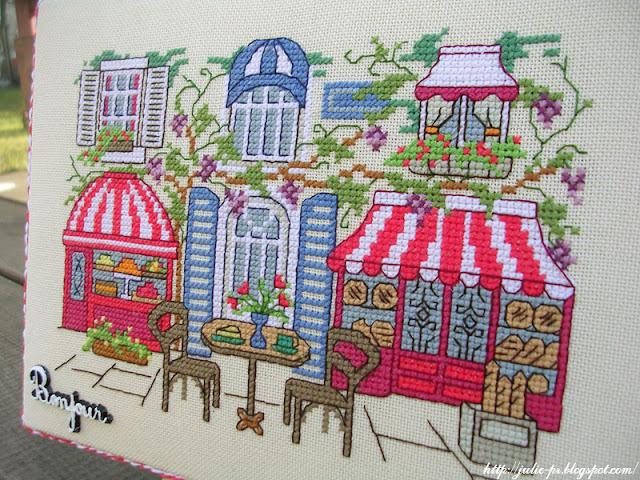 вышивка Парижское кафе, журнал CrossStitcher март 2005, Café parisien, french cafe, Париж