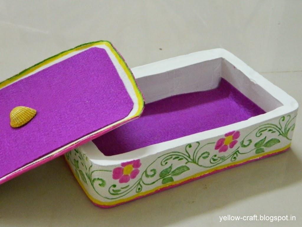 Plaster of paris jewelry box tutorial yellow craft for Waste material handmade craft