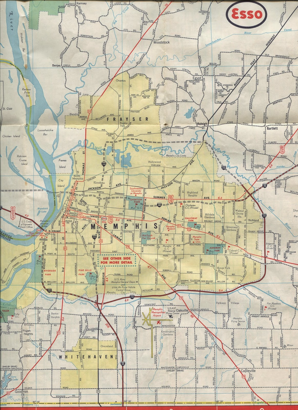 this 1963 map by general drafting for humble oil esso shows that i 55 and i 240 preceded i 40 of course neither were complete