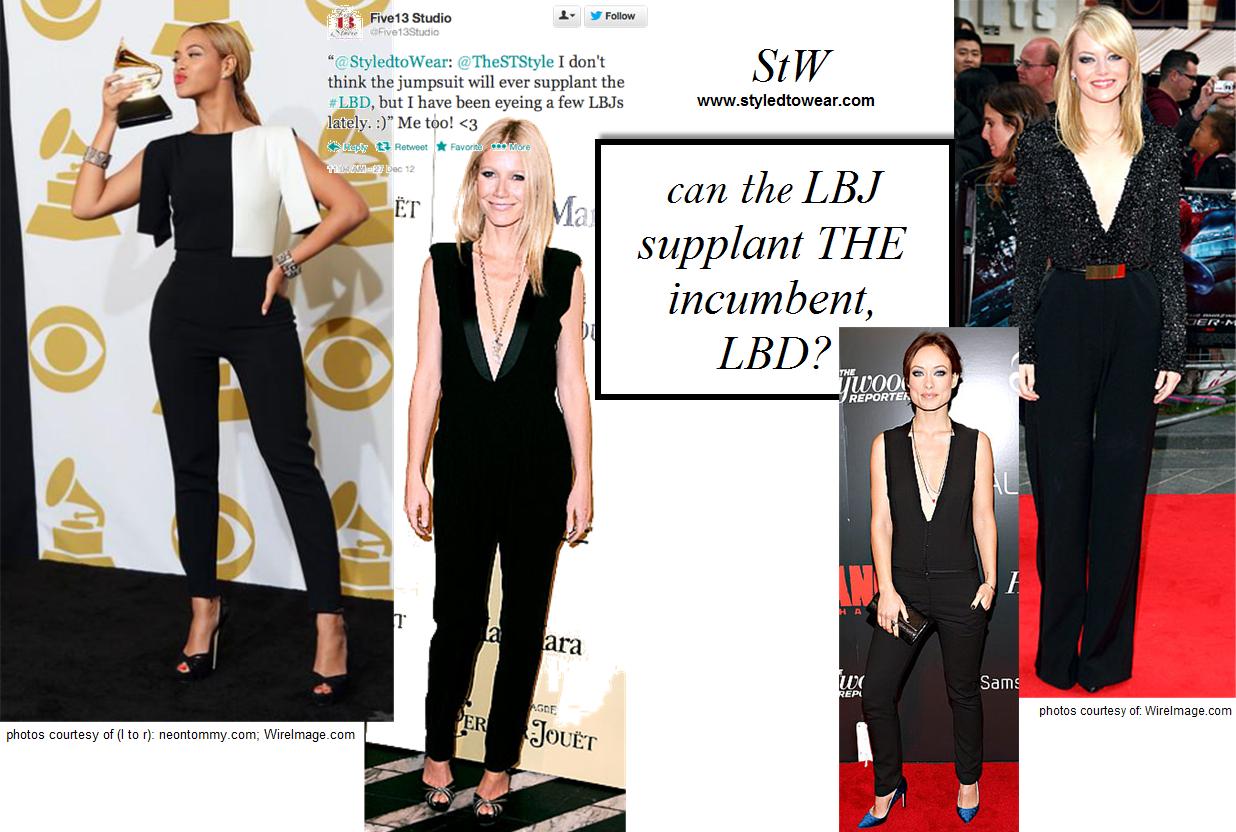 Celebrities: Beyonce, Gwyneth Paltrow, Olivia Wilde, Emma Stone wearing black jumpsuits