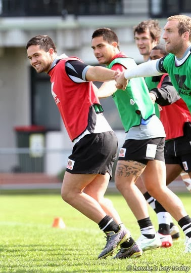 Jesse MacDonald (left), hooker in the Hawke's Bay Magpies rugby team, pictured training at McLean Park, Napier photograph