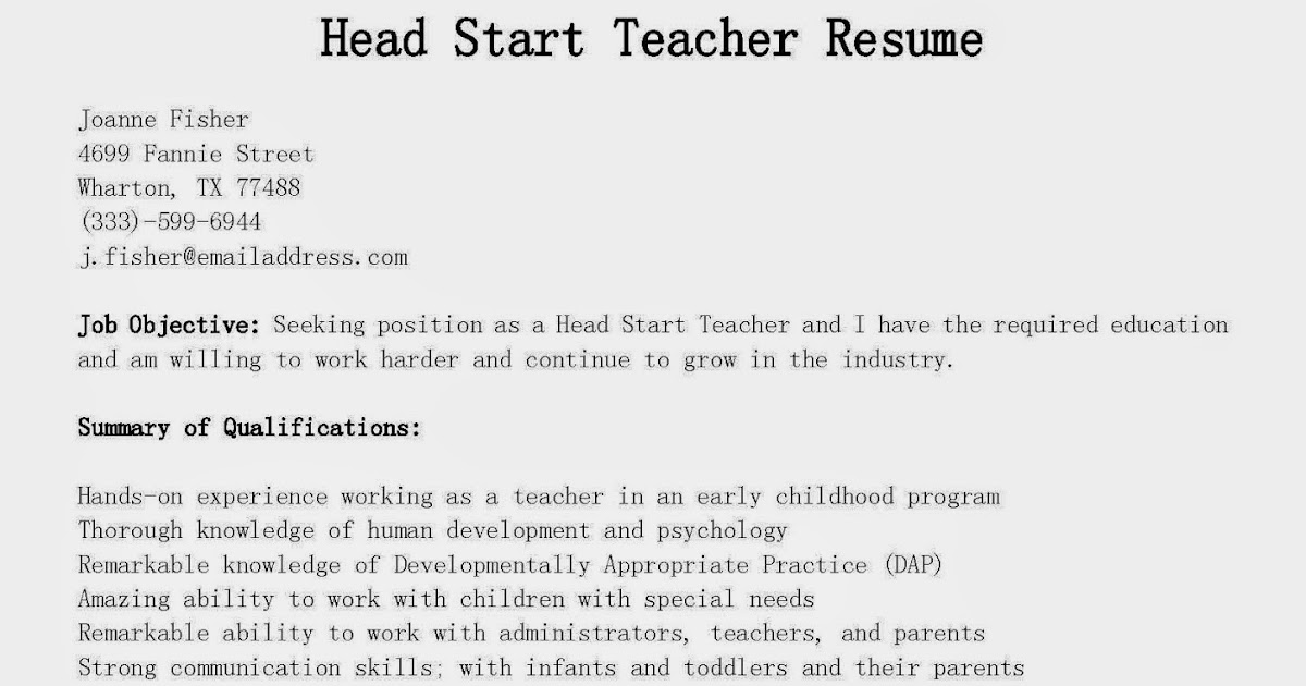 resume samples  head start teacher resume sample