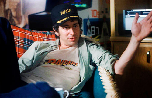 Spielberg wearing Raiders of the Lost Ark T-shirt