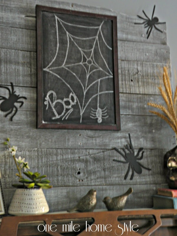 Spiders and Halloween Chalkboard Display