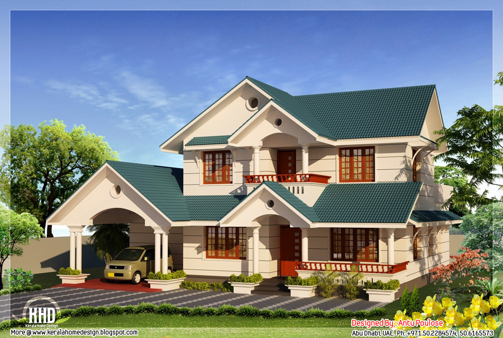 4 bhk sloping roof home design 2210 kerala home for Sloped roof house plans in india