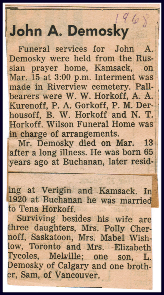 John A. Demosky funeral notice 1968