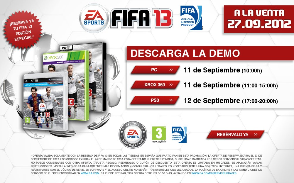 Descargar gratis FIFA 13 para PC, XBOX 360 y PS3