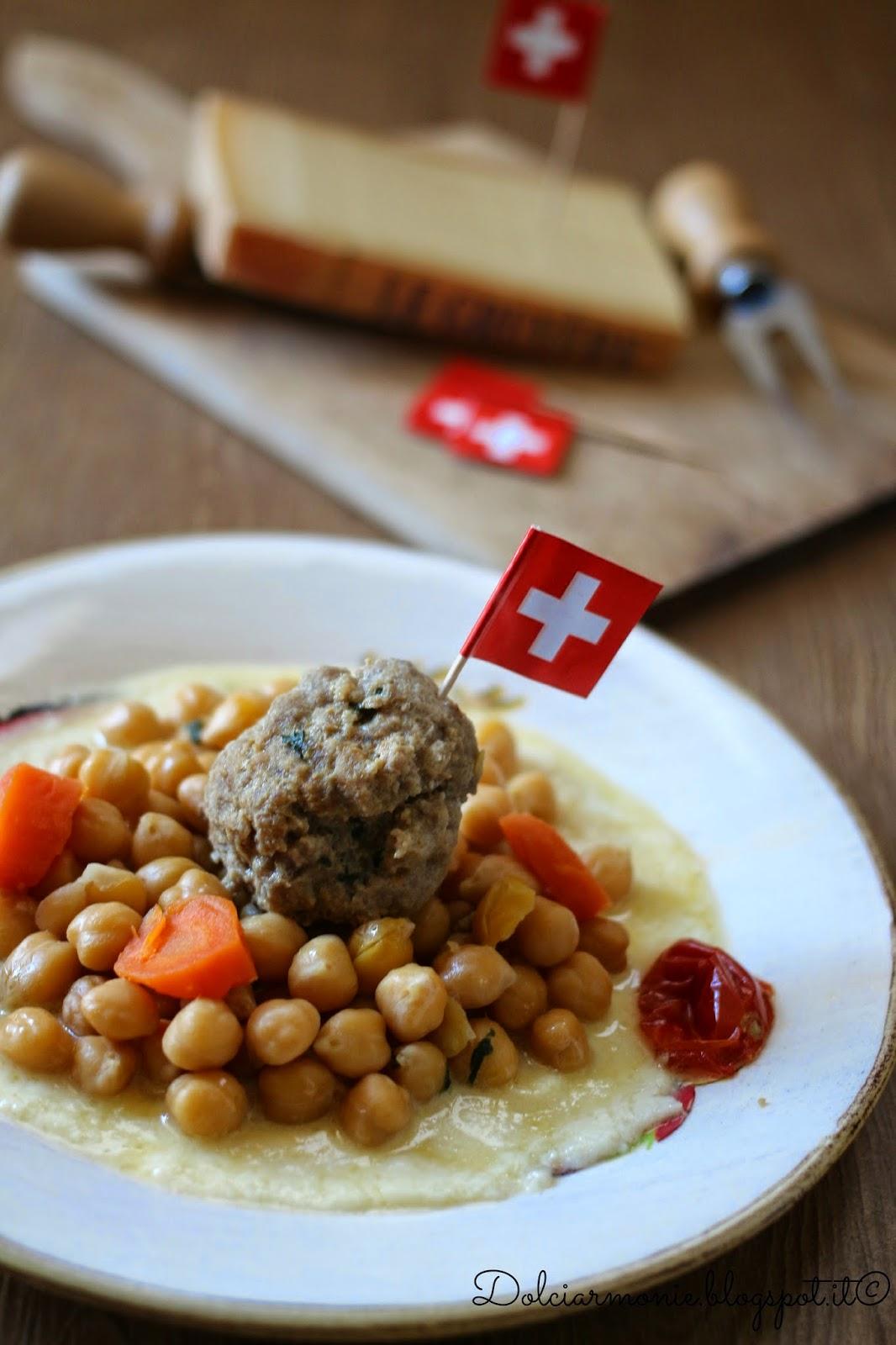 zuppa di ceci con pallottolina su fonduta di gruyère
