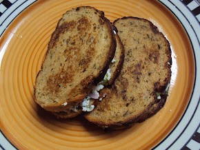 paneer sandwich made for a quick n healthy breakfast; sandwich with a flax meal and whole wheat bread.