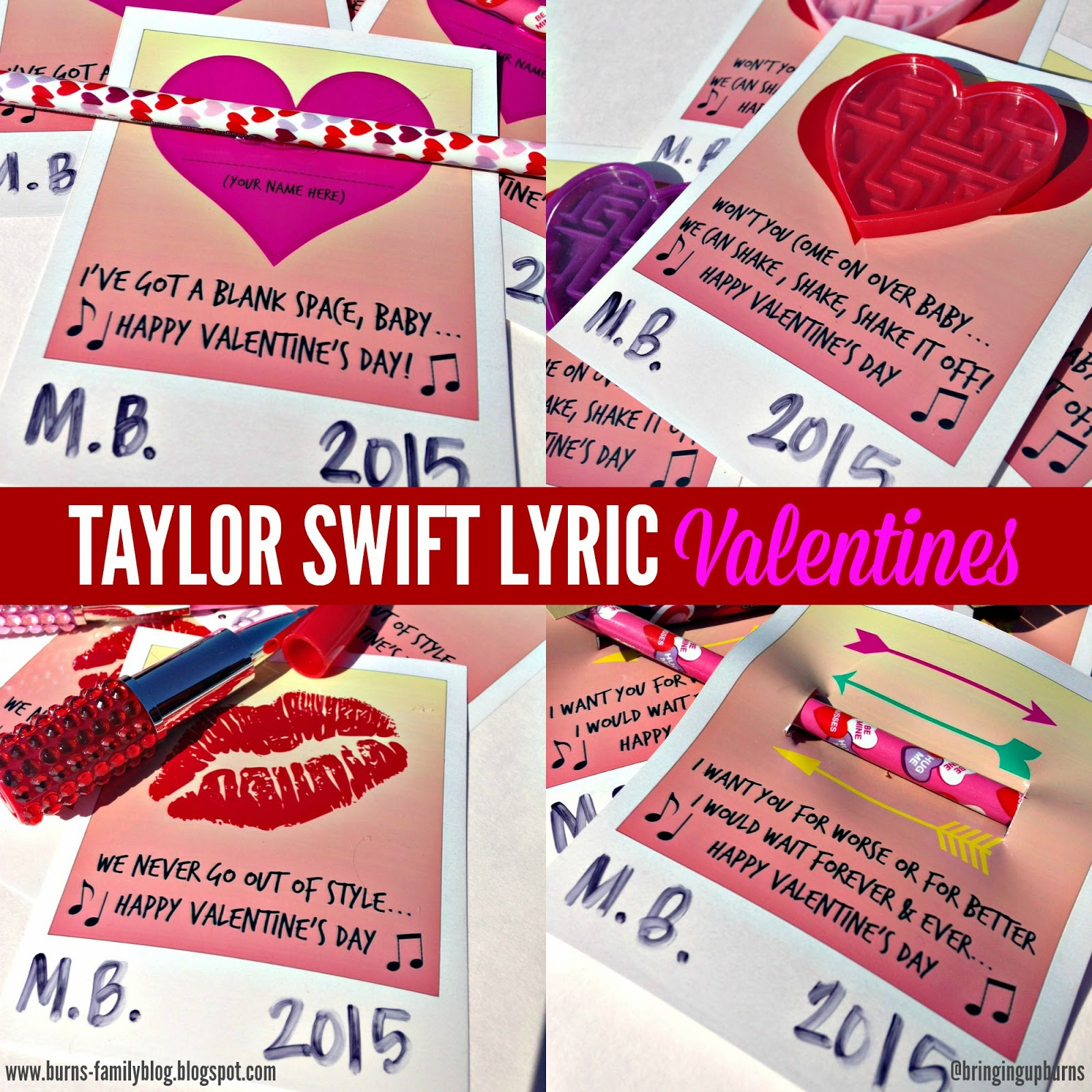 Bringing Up Burns Taylor Swift Lyric Valentines Free Printables