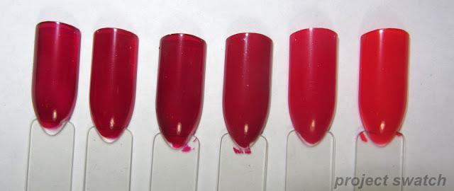 swatches - 1 - Sally Hansen CSM Red Zin, 2- Zoya Alix, 3- Sally Girl Unknown, 4- Illamasqua Throb, 5- Kleancolor Red, 6- Wet n Wild Fast Dry Everyone Loves Redmond