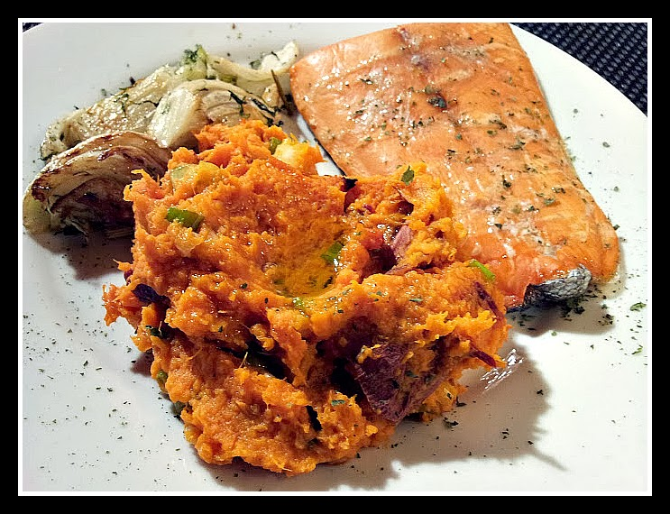 red or green?: Smashed Sweet Potatoes with Chipotle