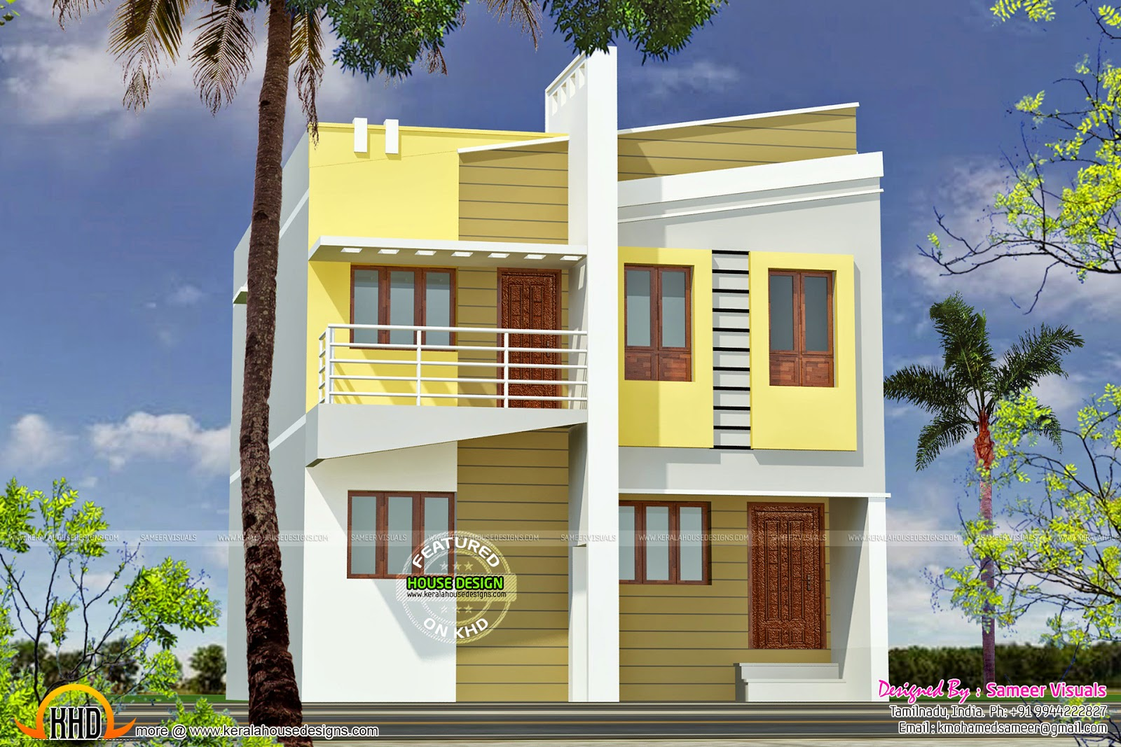 Small double storied tamilnadu home kerala home design for Tamilnadu house designs photos