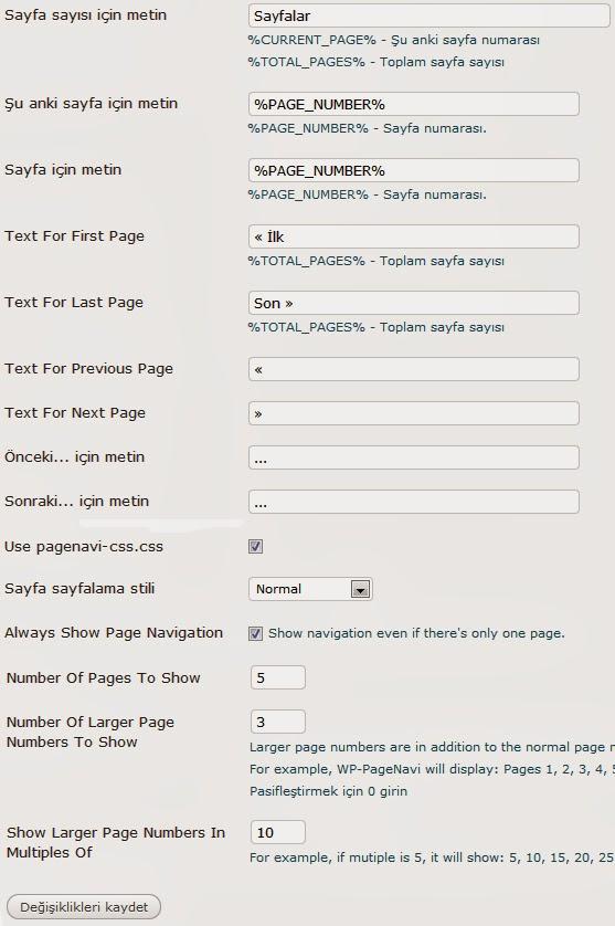 Wordpress WP-PageNavi Kullanımı