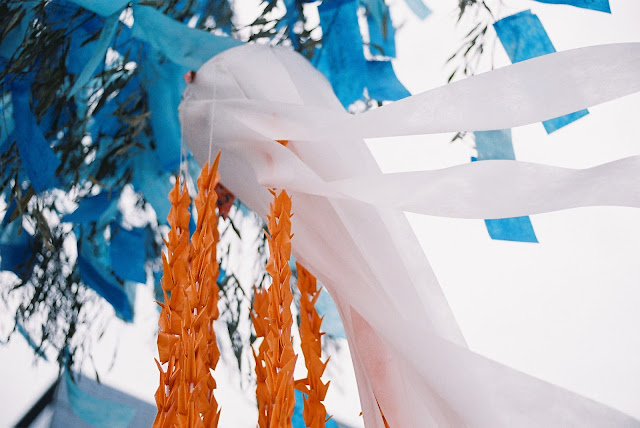 blue and orange colored tanabata decorations