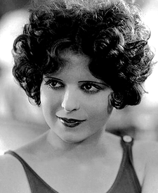 Vintage black and white photo of Clara Bow.