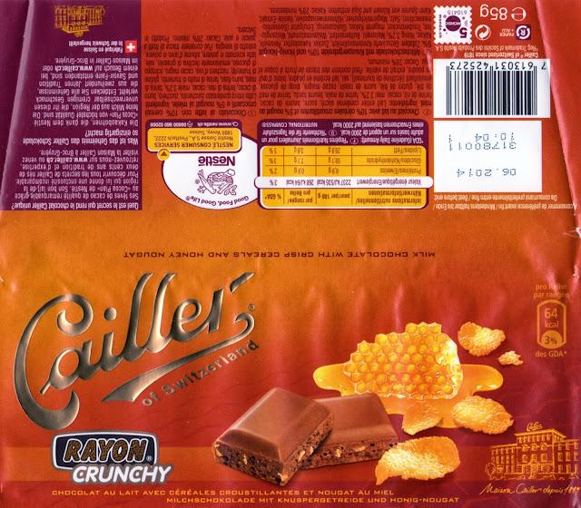 tablette de chocolat lait gourmand cailler lait céréales croustillantes et nougat au miel