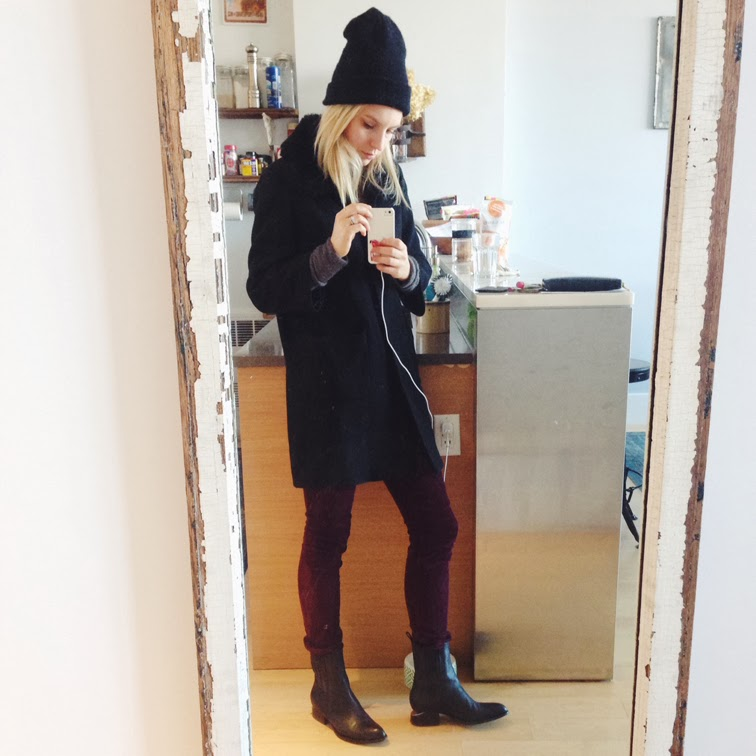 Selfie OOTD Rag & Bone cords Alexander Wang Anouck boots beanie
