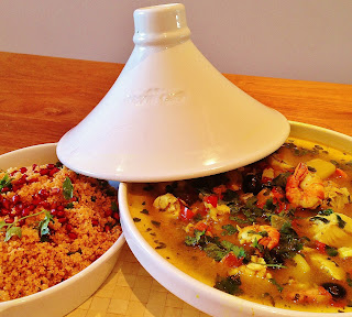 spicy fish tagine with harissa & pomegranate couscous