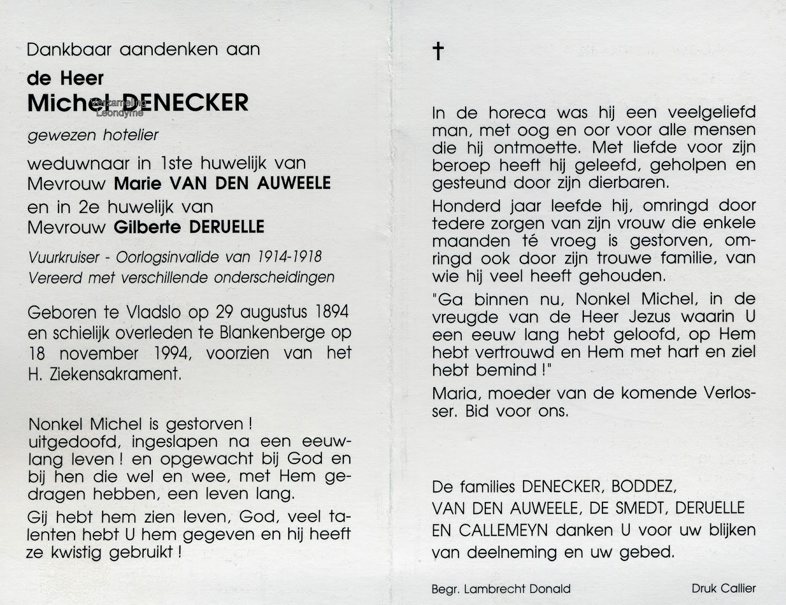 Bidprentje, Michel Denecker 1894-1994. Verzameling Leondyme