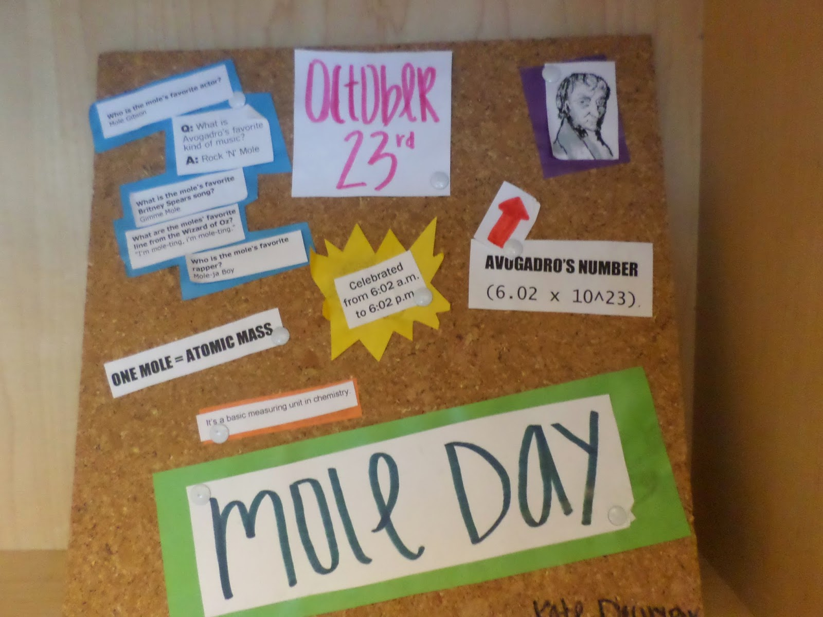 math love inspiration from science class mole day bulletin board