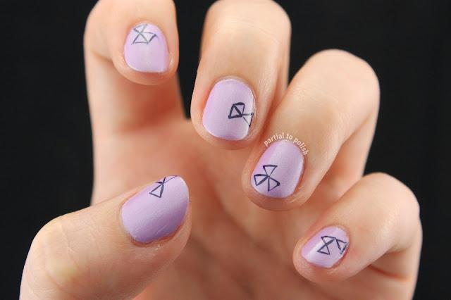 Purple Triangle Nail Art Over Zoya Leslie