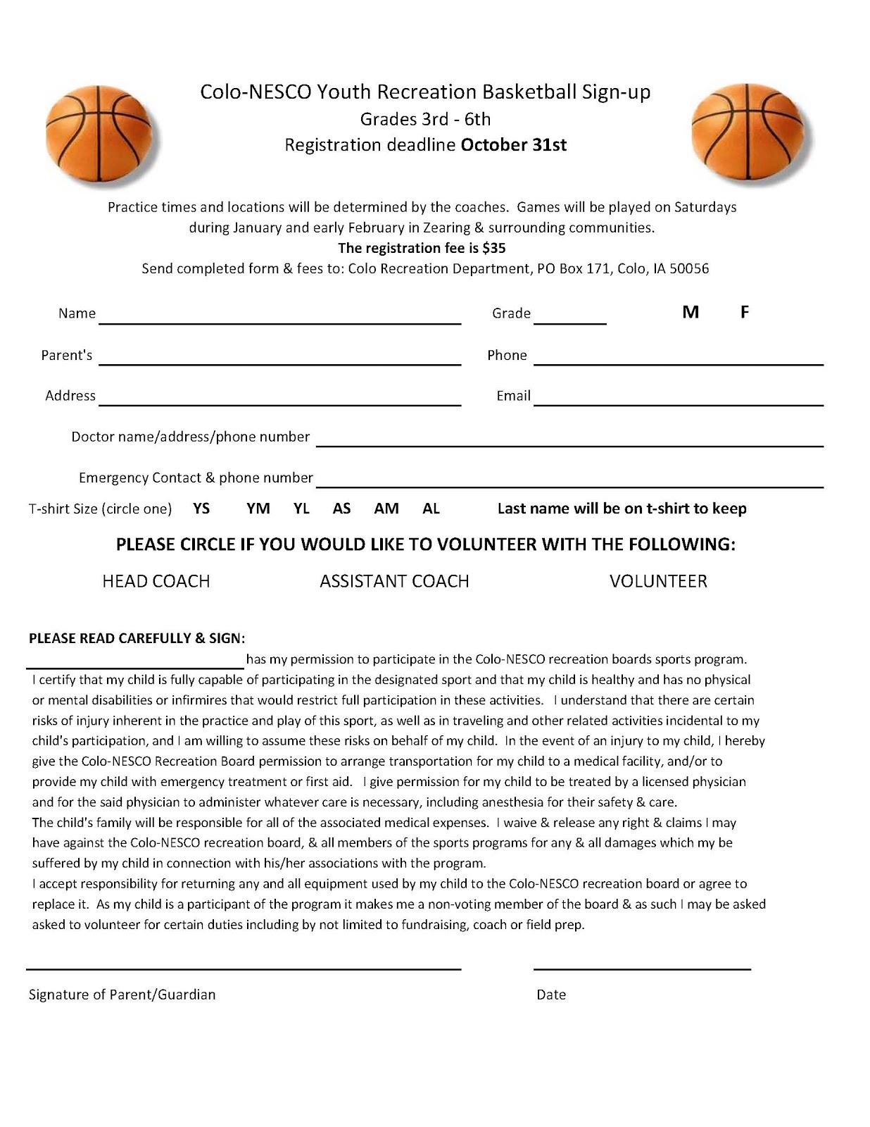Basketball registration form template for Basketball tournament program template