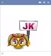 Just kidding girl emoticon