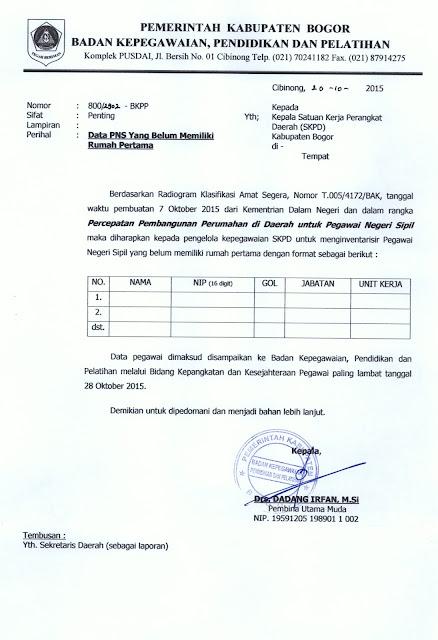 Pendataan PNS Bogor yang belum memiliki rumah