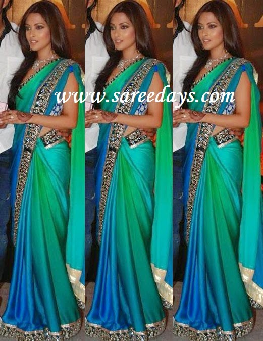 Latest saree designs riya sen in green crepe saree checkout riya sen in green crepe saree with black and silver work appliqued border and paired with matching sleeveless blouse altavistaventures Image collections