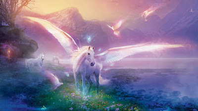 Pegaso blanco en un paisaje fantstico